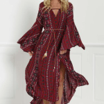 4. RoseGal - Tribal Print Hell Sleeve Maxi Flowy Dress $22.25