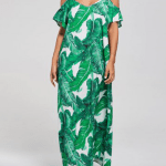 8. RoseGal - Cold Shoulder Printed Tropical Maxi Dress $22.39