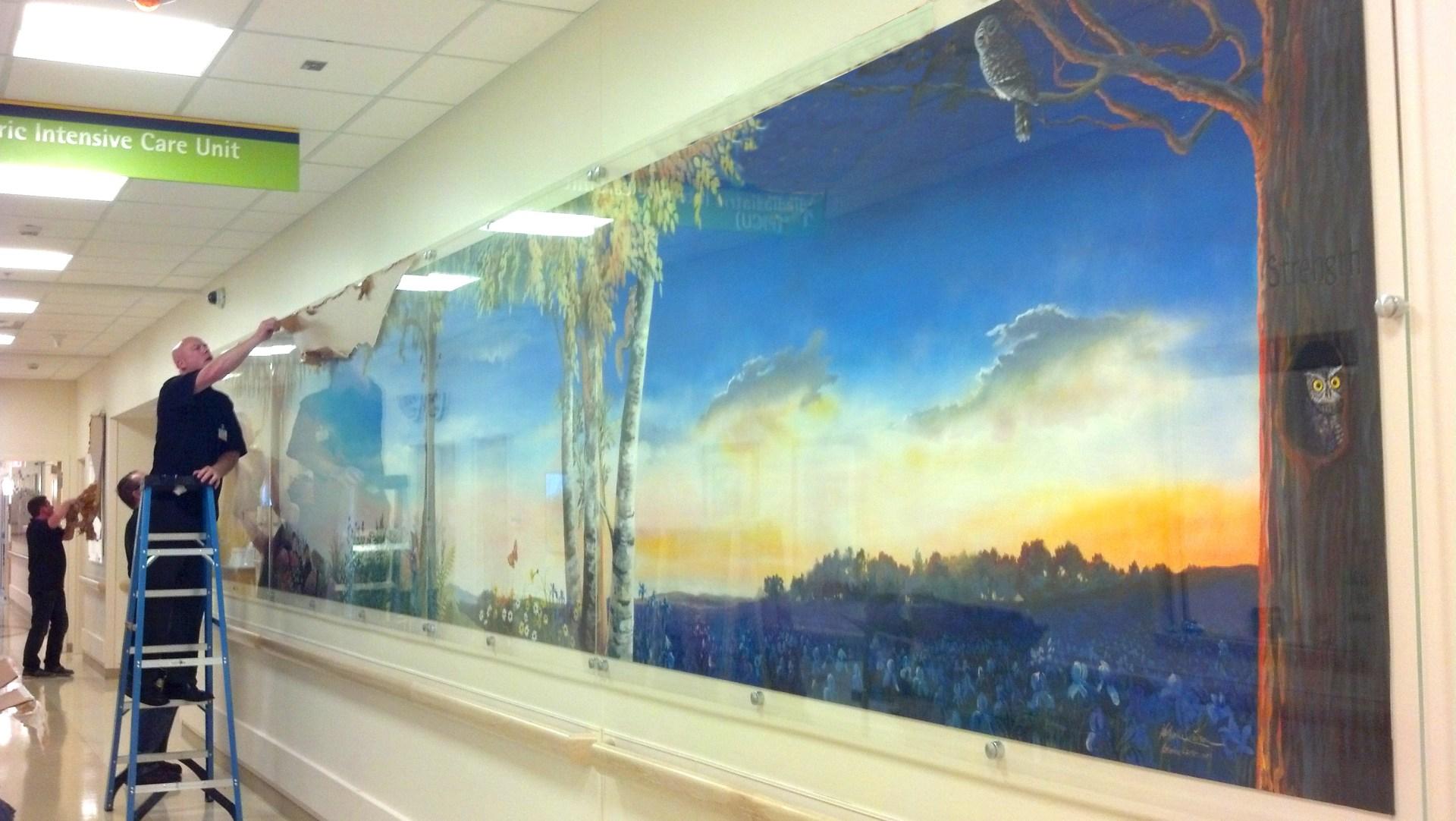 Woodland Mural during install.jpg