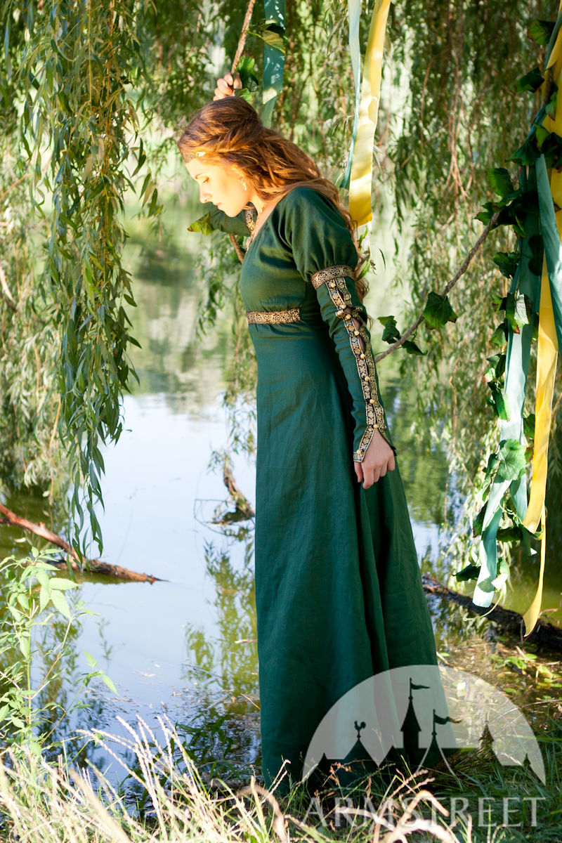 Medieval Style Flax Fantasy Dress With Overcoat For Sale