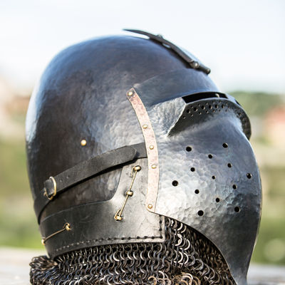 Blackened Klappvisor Bascinet Xiv Century Helmet With