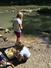 """Campers collect crayfish in the stream and study them in their """"crayfish sanctuary"""" at Crooked Creek ELC's Young Naturalist Camp"""