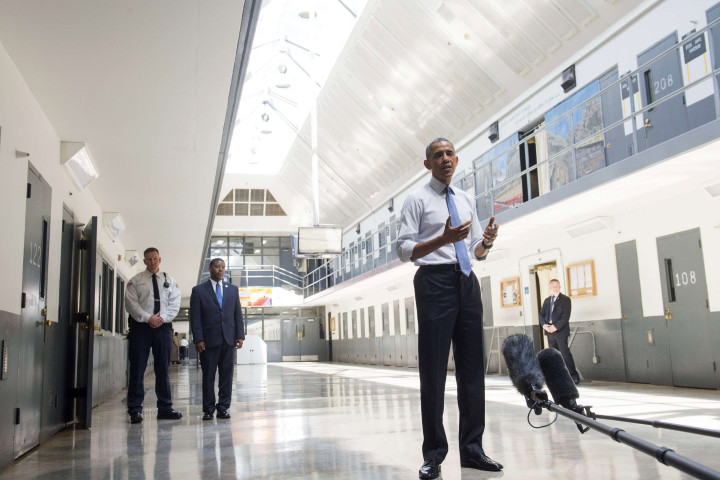 US President Barack Obama speaks as he tours the El Reno Federal Correctional Institution in El Reno, Oklahoma, July 16, 2015. Obama is the first sitting US President to visit a federal prison, in a push to reform one of the most expensive and crowded prison systems in the world. AFP PHOTO / SAUL LOEBSAUL LOEB/AFP/Getty Images