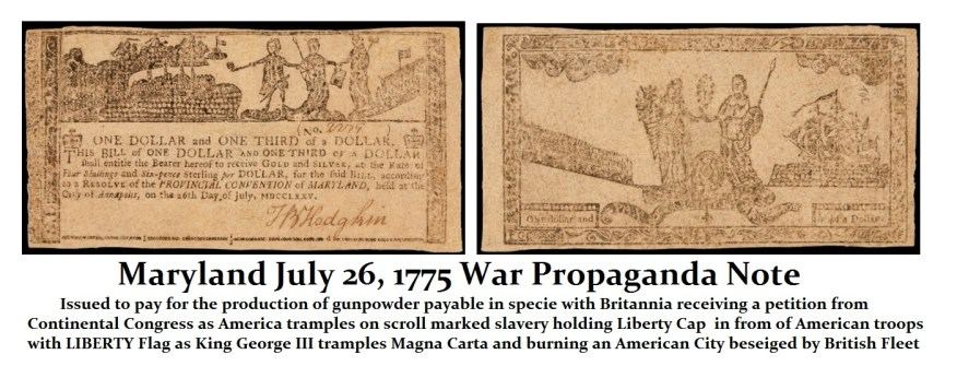Maryland 1775 Propaganda Note