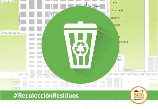 Armstrong. Días y horarios recolección de residuos domiciliarios.