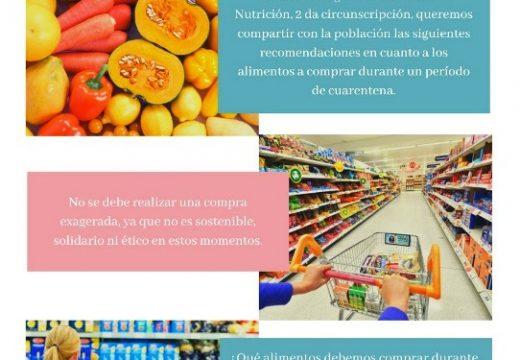 Recomendaciones de alimentos para comprar durante la cuarentena. Por Colegio de Nutricionistas.