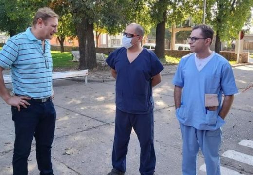 El Senador Cornaglia recorrió el hospital de Las Rosas.