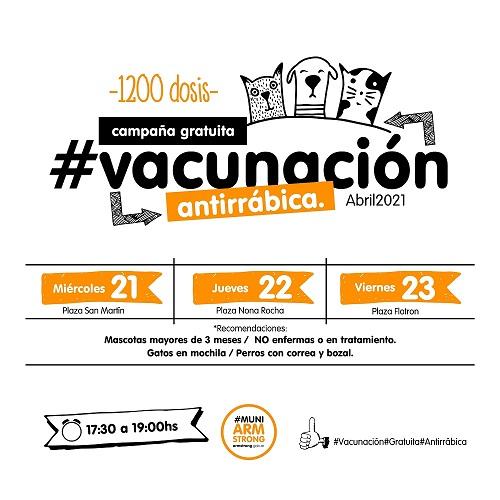Armstrong. Campaña gratuita de vacunación antirrábica 2021.