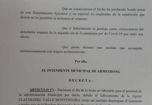 El intendente Municipal Dr. Pablo Verdecchia emitió un decreto por el fallecimiento de la agente Municipal Claudia Montenegro.