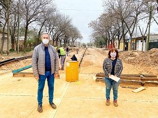 Cañada de Gómez. Casalegno recorrió trabajos de pavimento.