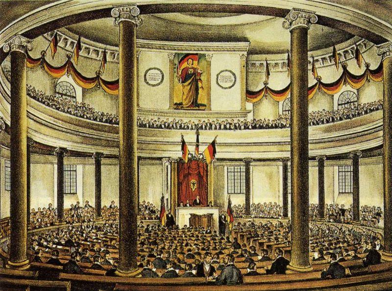 Nationalversammlung in der Paulskirche. Ernst Moritz Arndt saß als Alterspräsident in dem ersten Demokratischen Parlament und setzte seine Unterschrift unter die Paulskirchenverfassung.