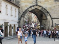Big tourist crowds at the west end of the Charles Bridge