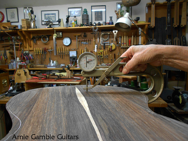 checking the back thickness, arnie gamble, guitar maker, bending the sides, guitar repair, sacramento, california,  kline music, authorized martin service center, C. F. Martin repair,
