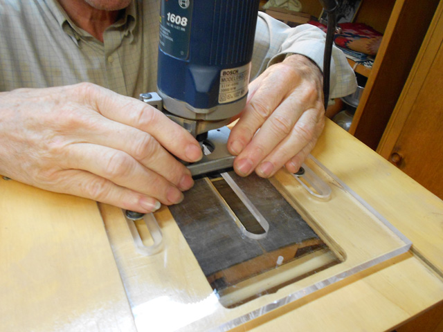 routering the mortise slot, arnie gamble, guitar maker, making the neck, guitar repair, sacramento, California,  Kline music, authorized martin service center, C. F. Martin repair,