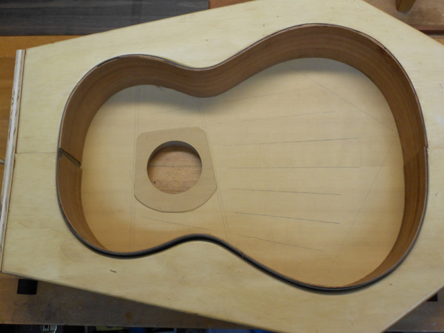 The rim of the guitar.