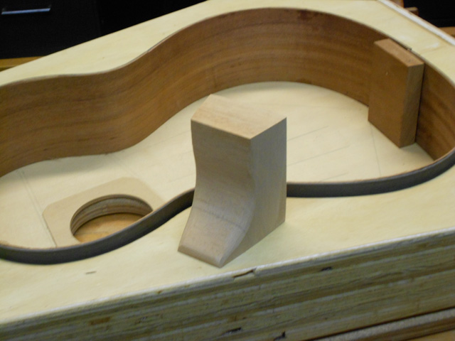 Making the blocks for the guitar.