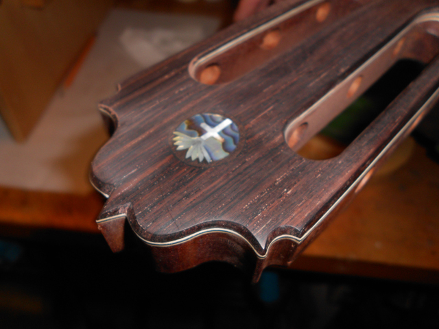 The finished head with a custom inlay.