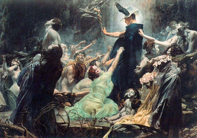 Hermes Trismegisto - (Adolf Hirémy-Hirschl, The Souls of Acheron (1898))