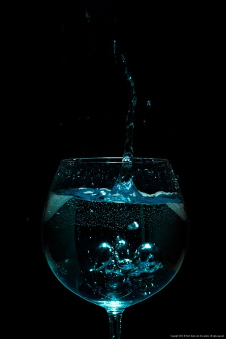 Splashing blue drink