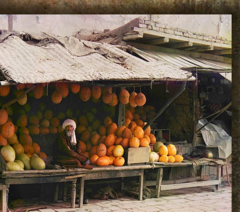 Sprzedawca melonów na rynku