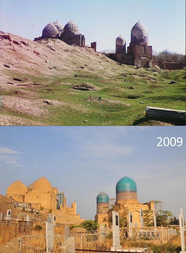 Kompleks cmentarnySzah-i Zinda  (z innego ujęcia). Wówczasi dziś