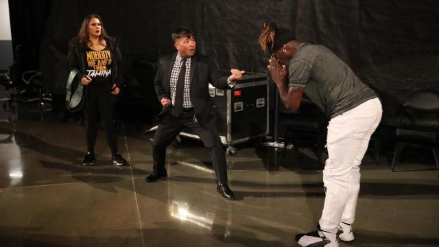 Funaki tries to protect Tamina from R-Truth