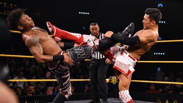 Lio Rush and Akira Tozawa knock each other out with kicks