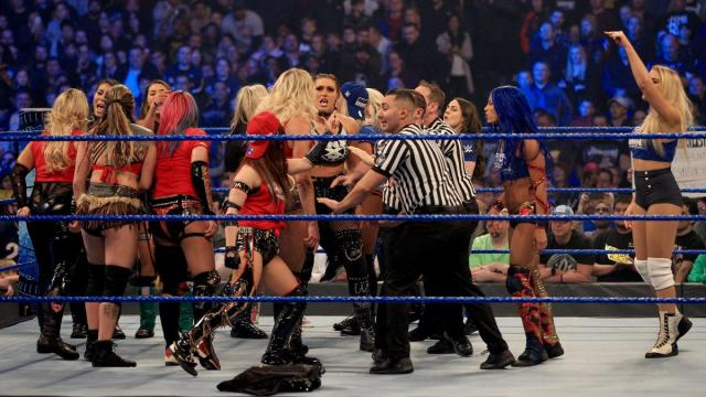 The SmackDown, RAW, and NXT Survivor Series teams face off