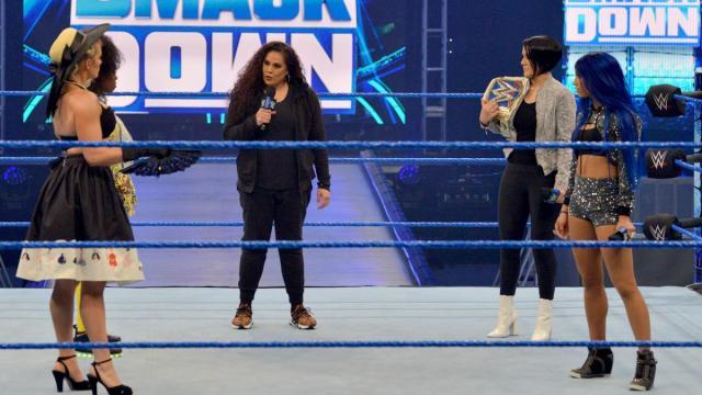Stand off between Taimina, Bayley, Naomi, Lacey Evans, and Sasha Banks