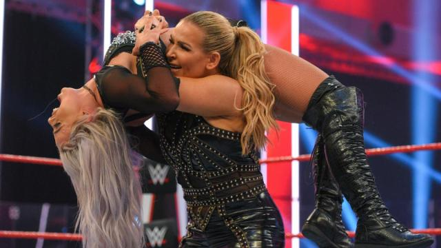 Natalya with Liv Morgan draped over her shoulder