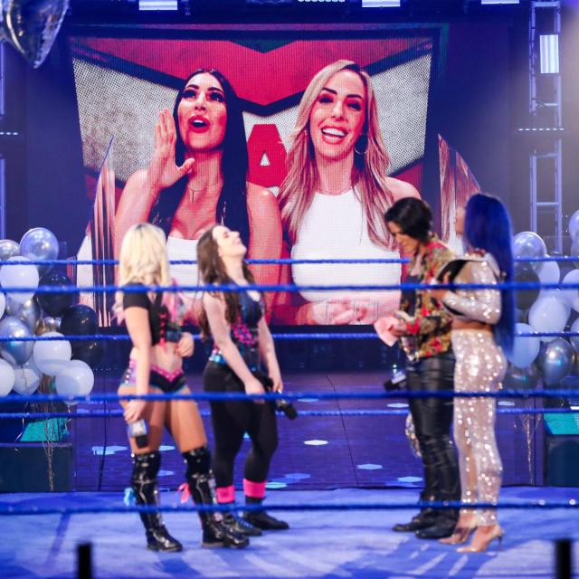 The IIconics interrupt Blis and Cross arguing with Bayley and Banks