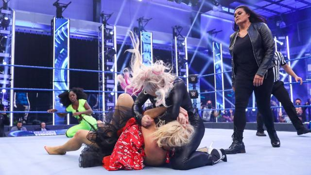 Dana Brooke and Lacey Evans brawl with Tamina and Naomi nearby as Naomi vs Lacey Evans descends into chaos