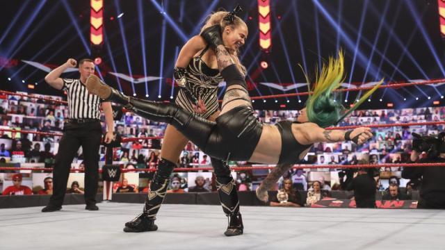 Ruby Riott kicks Lana in the head