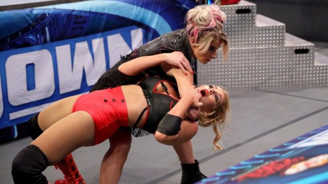 Alexa Bliss gives Lacey Evans a Sister Abigail