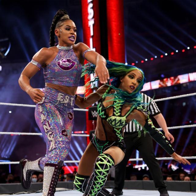 Bianca Belair and Sasha Banks at WrestleMania