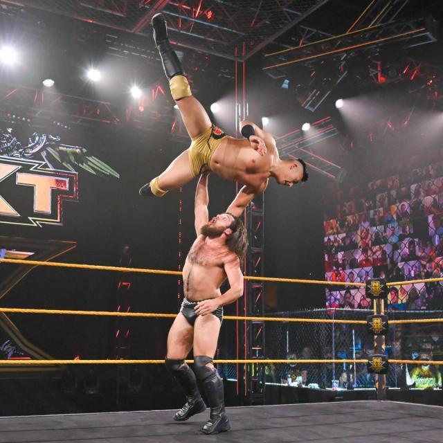 Jake Atlas high above Cameron Grimes' head