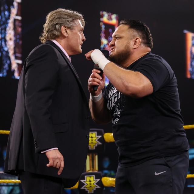 William Regal and Samoa Joe argue