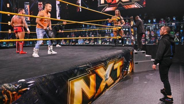 Kushida and Bobby Fish hold the ring against Diamond Mine