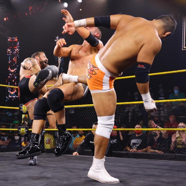 Kushida and Bobby Fish tandem kick Roderick Strong