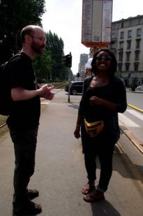 Me and a couchsurfing host in Milan.