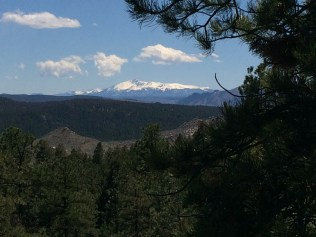 Pikes Peak is still heavily blanketed in snow.
