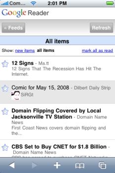 Google Reader para el iPhone