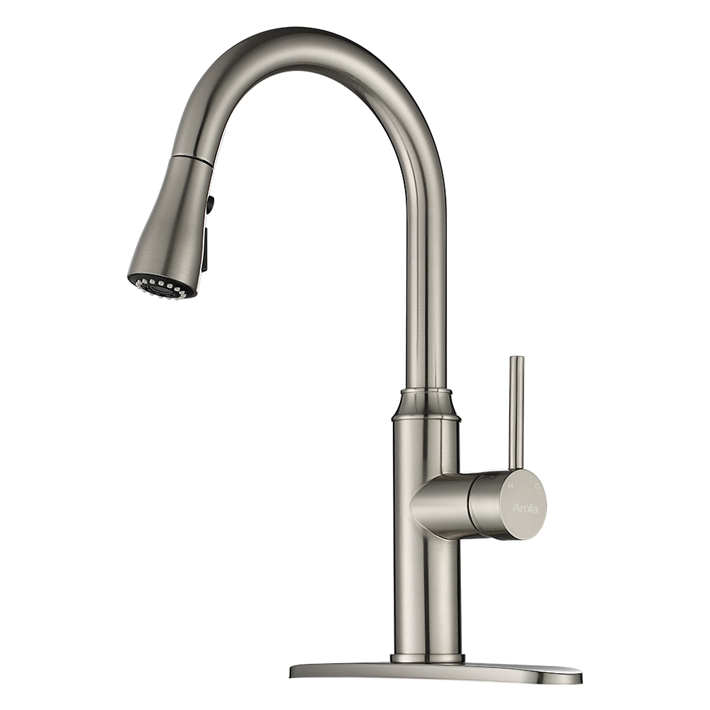 kitchen faucet pull down arofa a01ly commercial modern single hole single handle high arc stainless steel brushed nickel kitchen sink faucets with