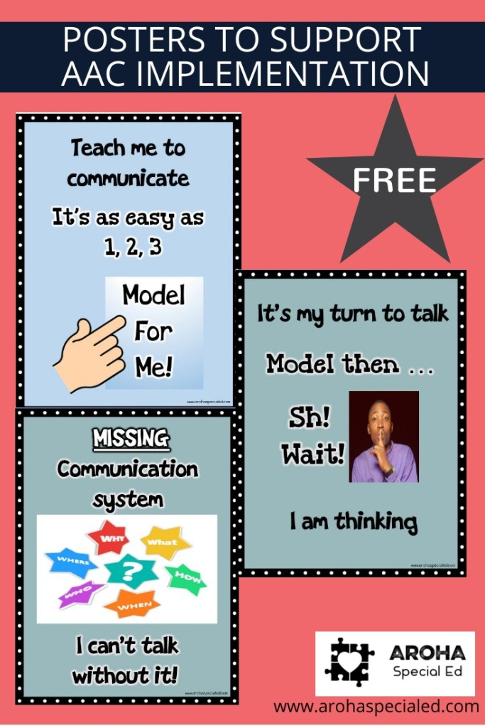 Keep Modeling Posters to support teachers as they model AAC to teach students to communicate.