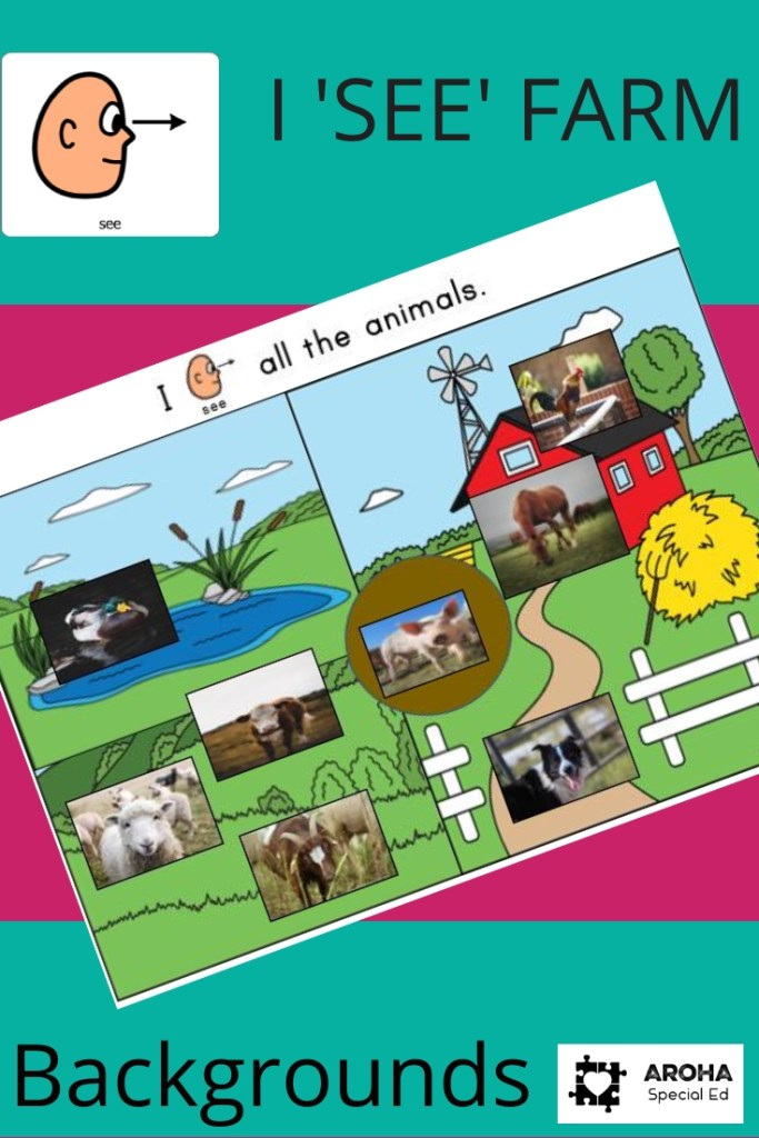 Picture of a farm background scene - pond, paddocks, barn. Pictures of real animals on the areas of the farm: duck, cow, sheep, goat, pig, dog horse and rooster.