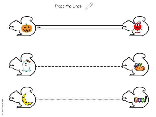 Picture of hollow squirrels with pictures of halloween characters within. Lines to trace between pairs of squirrels.