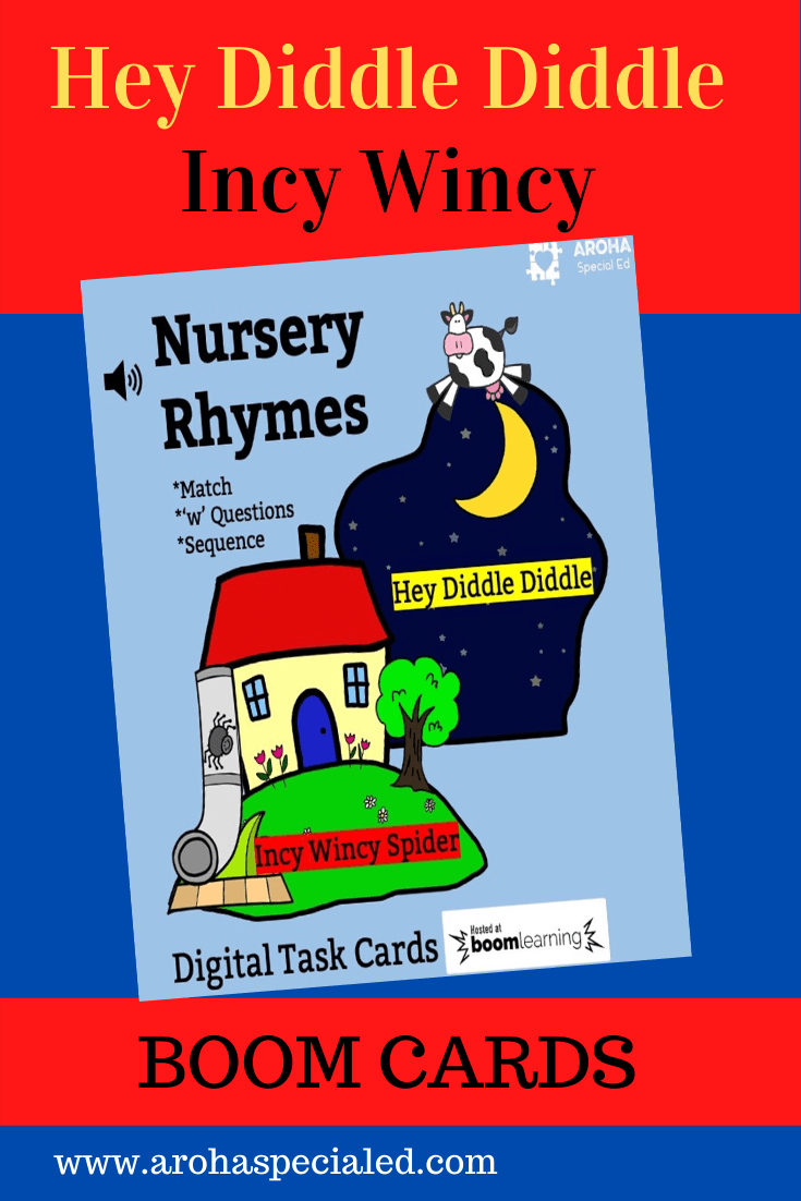 picture of Nursery Rhymes: cow jumping the moon for Hey Diddle Diddle and house, frain pipe and spider for Incy Wincy