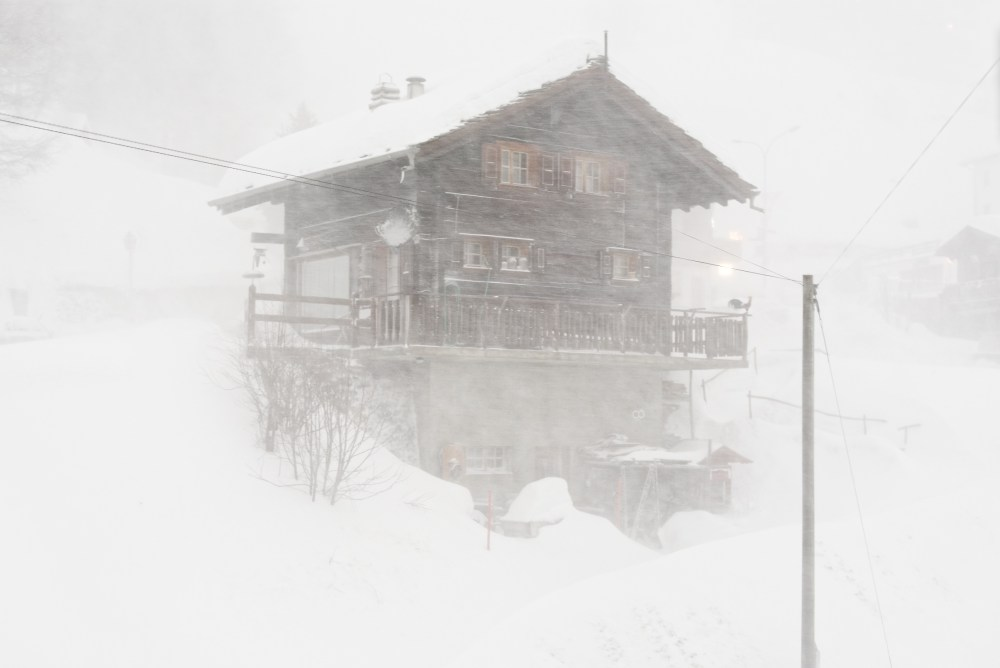 At the center of Arolla during a snow storm