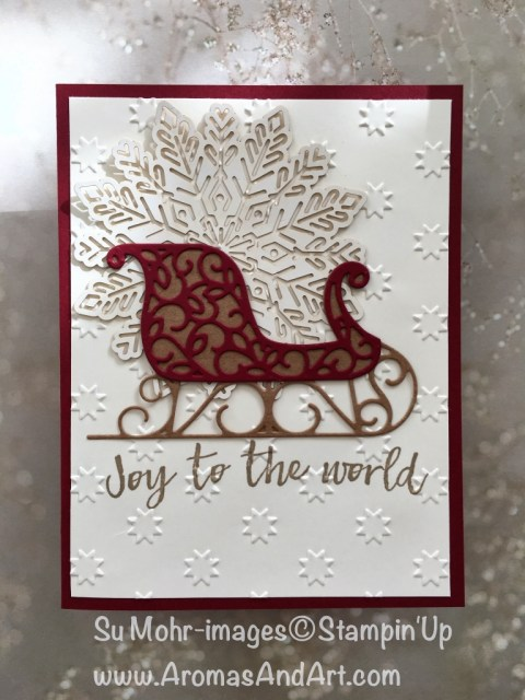 By Su Mohr for GDP115; Featuring: Santa's Sleigh, Foil Snowflakes, Hearts Come Home, Stars embossing folder; For more details click on visit to go to my blog; #ohmystars #quickandeasy #christmascards #stampinup #santassleigh #foilsnowflakes