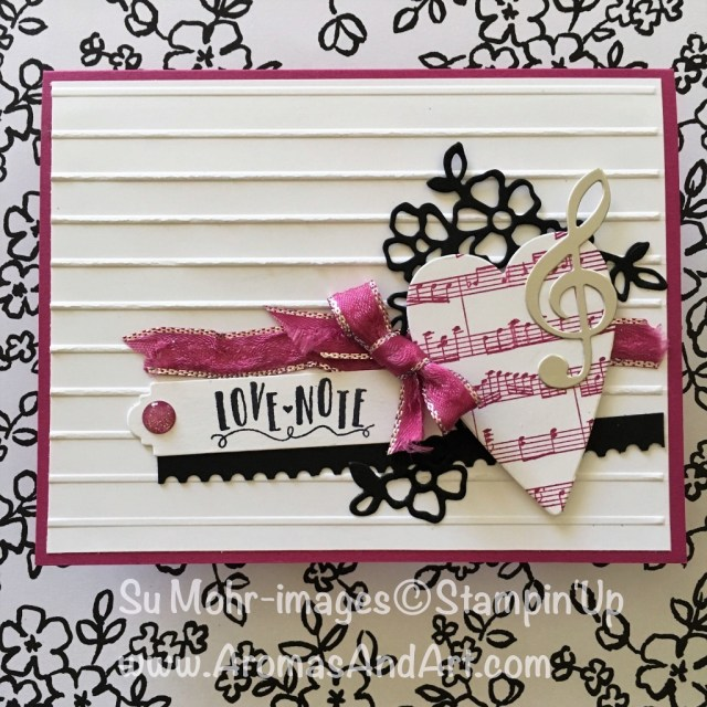 By Su Mohr forGDP122 and PP377; Click on visit to go to my blog for the details; Featuring: Sheet Music, Simple Stripes Embossing Folder, Lots to Love Box Dies, Ticket Tear Punch, Berry Burst Ribbon, Sealed with Love